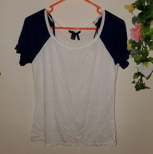 Blue sleeve basic white T Shirt